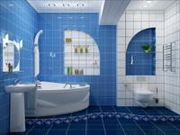Варианты дизайна синей ванной комнаты