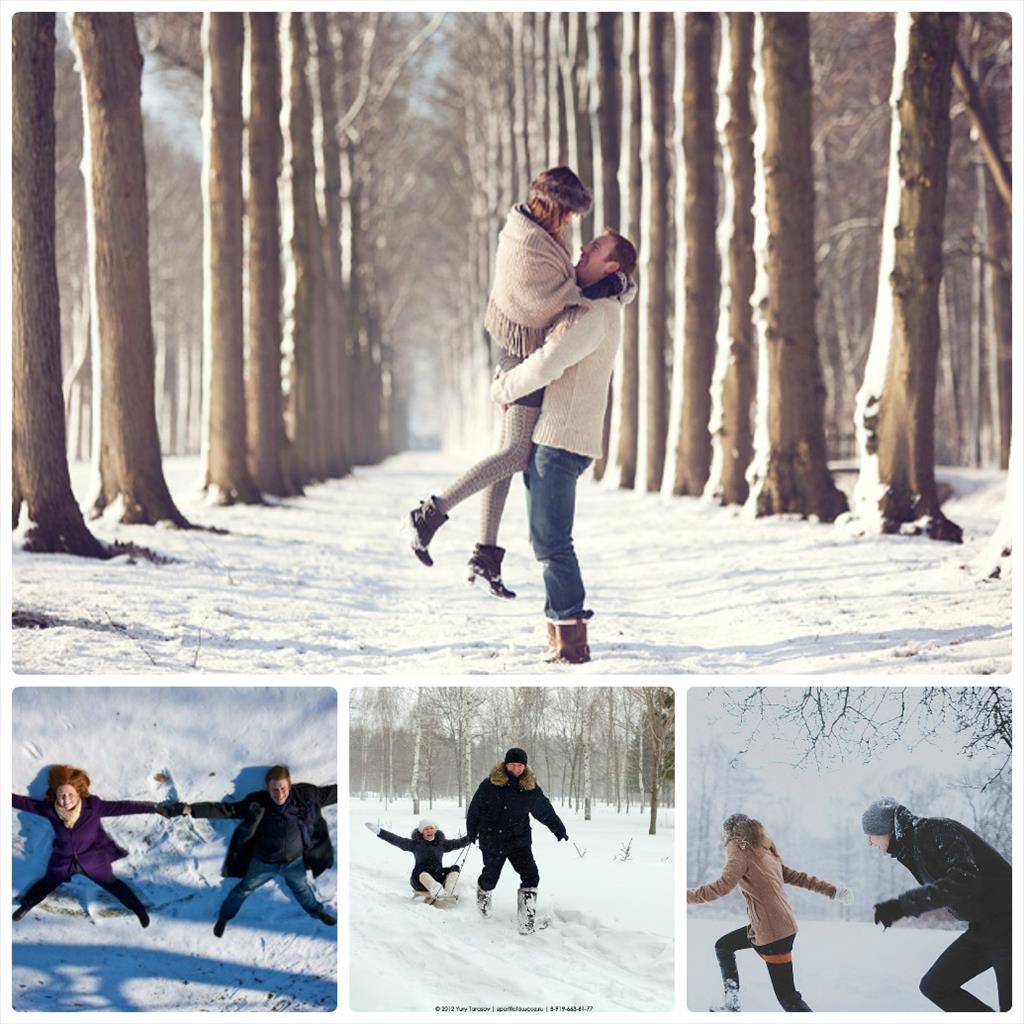 фотосессии парные зимой